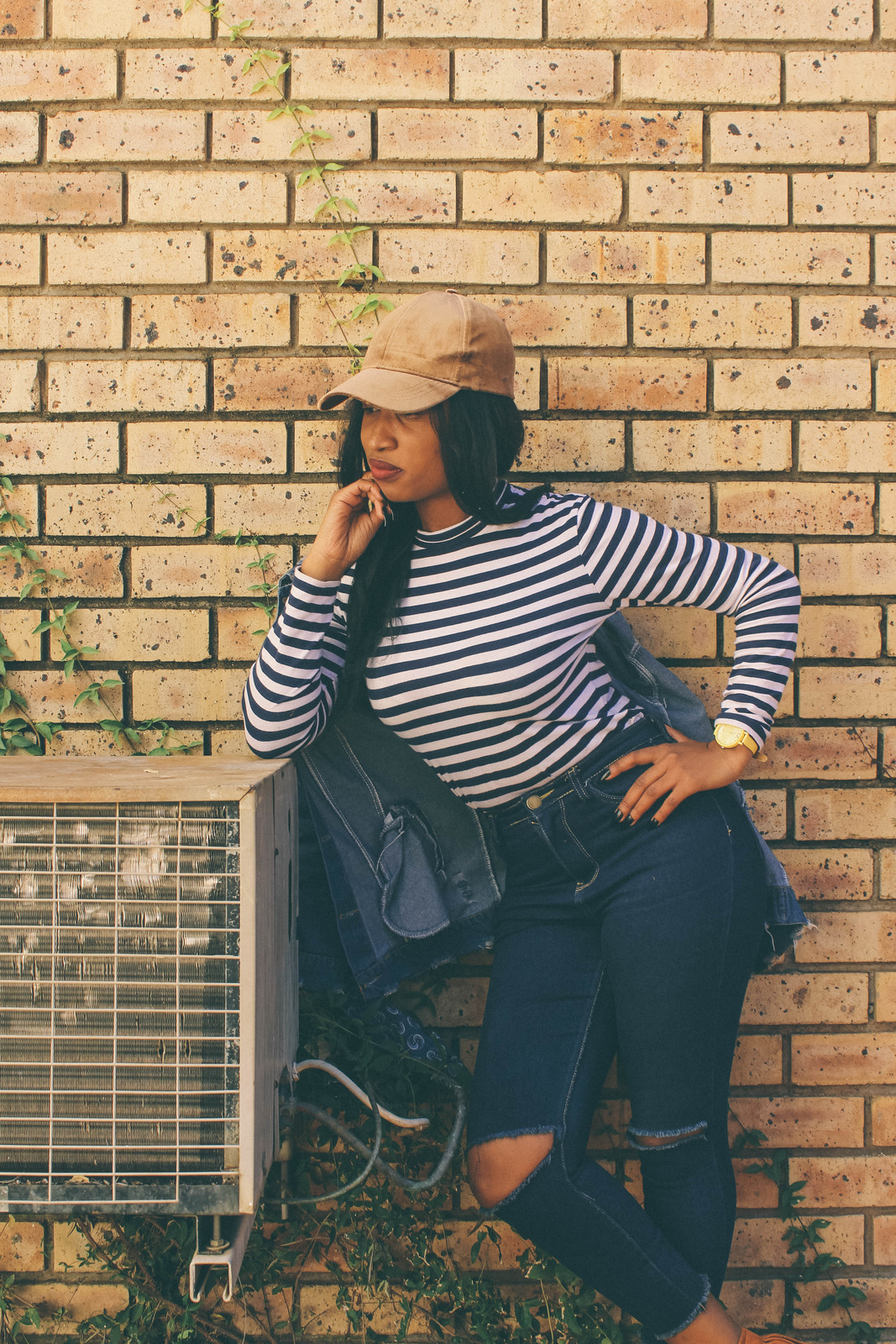 Woman Standing Beside Outdoor Ac Unit