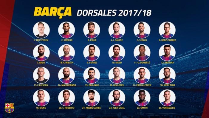 Dorsales FC Barcelona 17 18