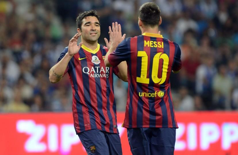 FC Barcelona well represented at Deco testimonial   FC Barcelona Leo Messi and Deco celebrate a goal scored by the latter