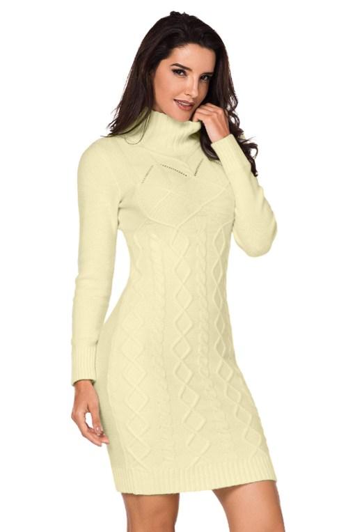 F684-813 Rochie tip pulover cu guler inalt, model tricotat