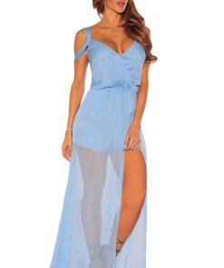 A494-48 Rochie albastra, vaporoasa de vara, cu aspect petrecut in fata