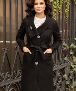 Palton Leonard Collection negru cu rever petrecut