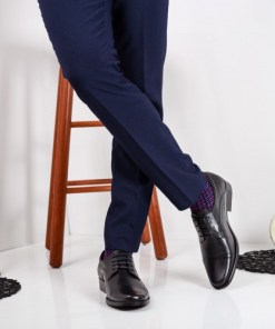 Pantofi barbati Piele Barlic negri eleganti