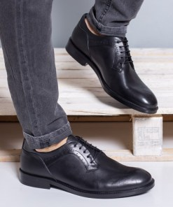 Pantofi barbati Piele Lobby negri casual