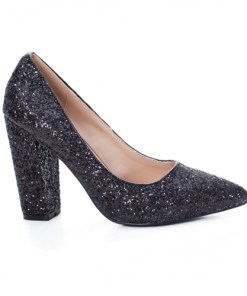 Pantofi Birani negri cu toc