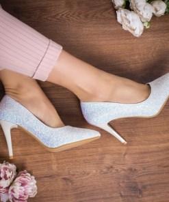 Pantofi Grumio argintii cu toc