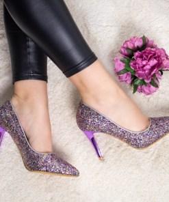 Pantofi Grumio mov cu toc
