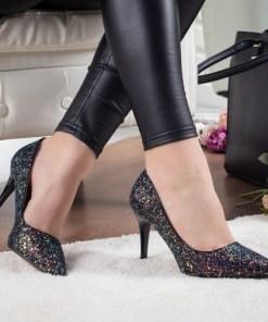Pantofi dama Grumio negri cu toc