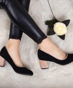 Pantofi Gunemi negri cu toc bej