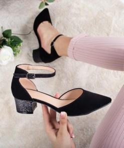 Pantofi Laurentia negri cu toc