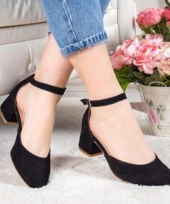 Pantofi Piele Odelia negri cu toc