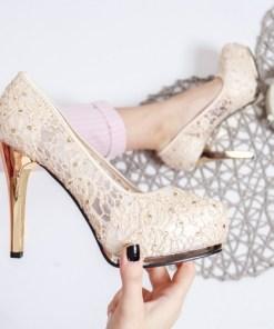 Pantofi Posiva bej cu toc