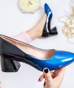 Pantofi Zaneta negri cu albastru cu toc