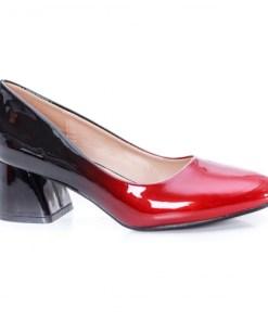 Pantofi Zaneta negri cu rosu cu toc