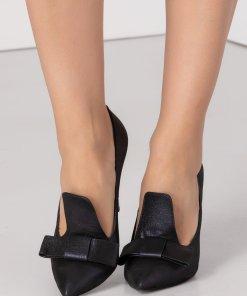 Pantofi stiletto bleumarin cu funda si reflexii