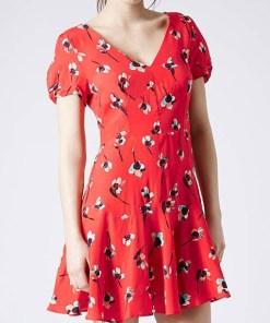 Rochie rosie scurta cu imprimeu floral