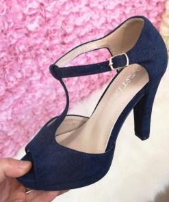Sandale Anfeli albastre cu toc elegante