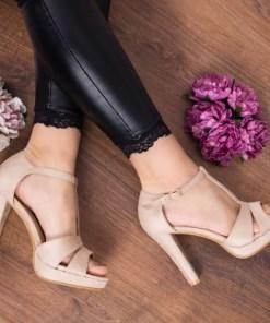 Sandale dama Badiva bej cu toc