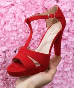Sandale Badiva rosii cu toc