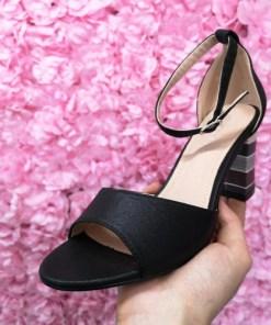 Sandale Holni negre cu toc