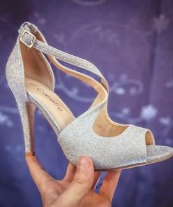 Sandale Lepado argintii cu toc