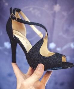 Sandale Lepado negre cu toc