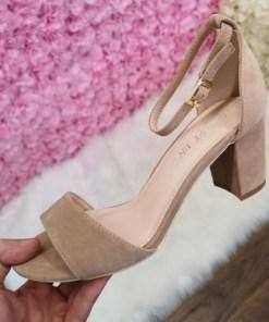 Sandale Sendila bej cu toc elegante