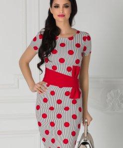 Rochie LaDonna cu buline rosii si dungi negre