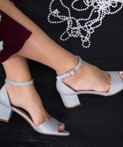 Sandale Mirali argintii cu toc