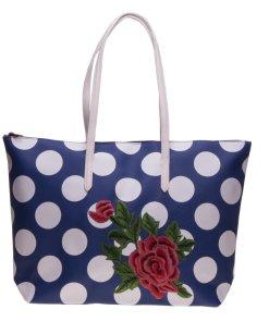 Geanta shopper 3055 albastra cu buline albe