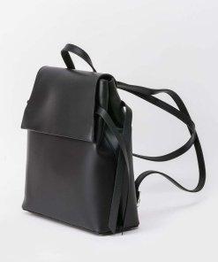 Rucsac negru casual din piele naturala cu manere reglabile