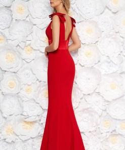Rochie Artista rosie de ocazie lunga tip sirena din stofa subtire usor elastica accesorizata cu fundite cu aplicatii de dantela