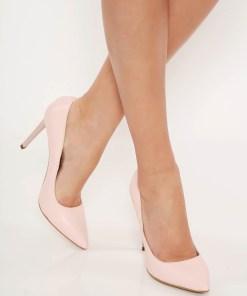 Pantofi roz deschis stiletto office din piele naturala cu varful usor ascutit