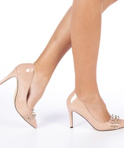 Pantofi cu toc dama Zandra nude