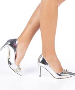 Pantofi cu toc dama Zandra argintii