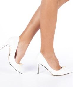Pantofi cu toc dama Zolia albi