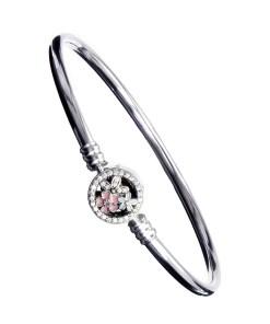 Bratara charm fixa din Argint 925, inchizatoare flori email roz si albe, lungime 20 cm