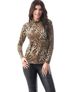 E924-99 Bluza casual accesorizata cu imprimeu animal print
