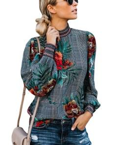 H308B-100 Bluza cu maneci lungi si imprimeu floral