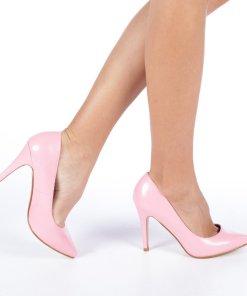 Pantofi cu toc dama Anabela roz