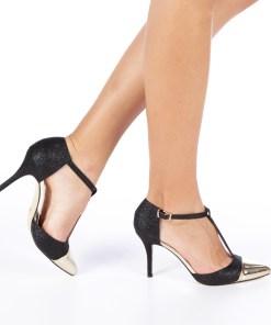 Pantofi cu toc dama Zanetta negri