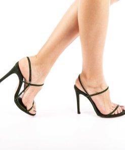 Sandale cu toc dama Stella verzi