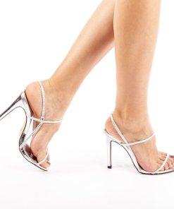 Sandale cu toc dama Stella argintii