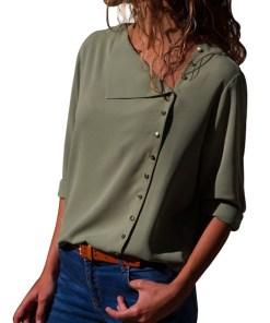 L618-120 Bluza casual cu nasturi aurii si maneci lungi