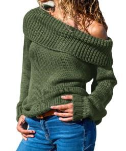 U746-12 Bluza tricotata, pe un umar, cu guler rasfrant