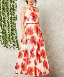 Eleganta rochie lunga, de culoare bej, cu imprimeu floral