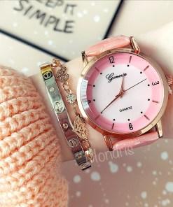 Ceas dama minimalist roz cu cadran roz sidefat si curea din piele eco 2885