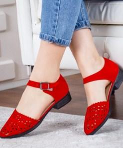 Pantofi Maryla rosii cu toc gros -rl