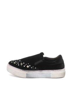 Pantofi slip-on flatform decorati cu strasuri Eva