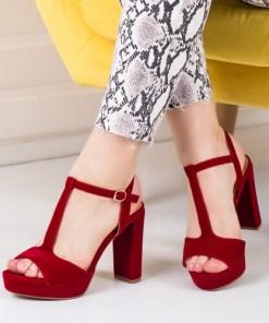 Sandale Ursina rosii cu toc -rl